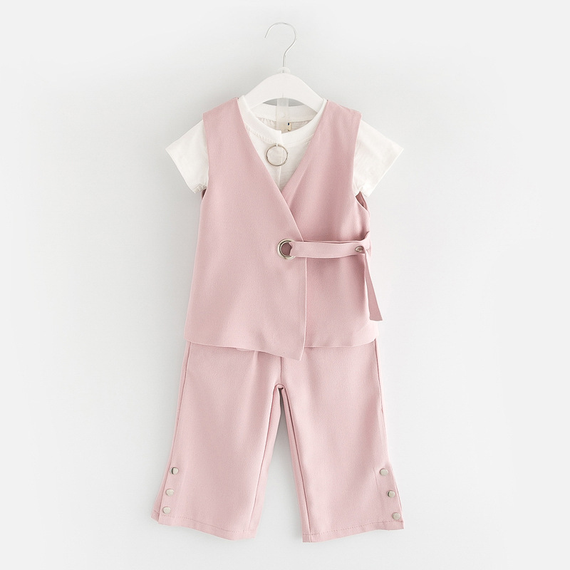 Buy 2017 Girl Clothing Set Spring Summer T-Shirt+Vest+Pants Grils 3Pcs Suit Wedding Party Clothes Kids Fashion Beautiful Suit U2201