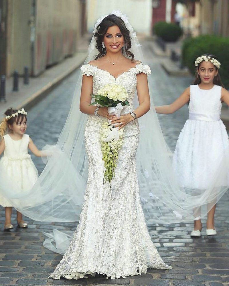 With Veil Lace Wedding Dress Mermaid Off the Shoulder Said Mhamad ...
