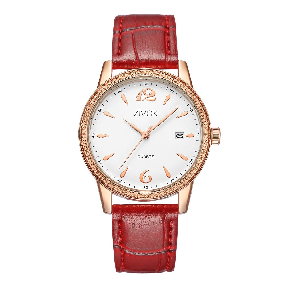 Women Leather Watch Women Watches wrist Belt White Quartz Bead Calendar Date Simple Casual Birthday Gift Red White color 8047 bead simple