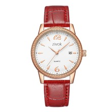 Women Leather Watch Women Watches wrist Belt White Quartz Bead Calendar Date Simple Casual Birthday Gift Red White color 8047 цена