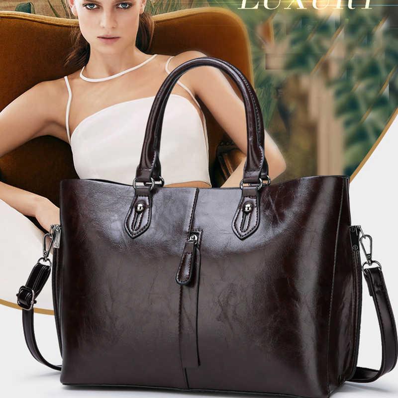 ハイグレードオイルワックス肌二組のコンポジットバッグレディーハンドバッグ新ファッション高品質カジュアル野生のショルダーバッグメッセンジャーバッグ