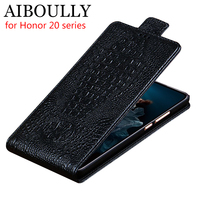 AIBOULLY Genuine Leather Flip Up and Down For Honor 20i 20 Lite Pro Case Cover Protective Mobile Phone Stand Case Leather Cover