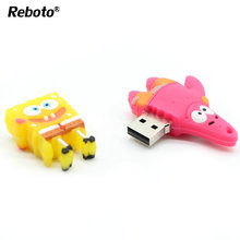 Reboto Мультфильм губка боб модель памяти USB 2.0 привод ручки вспышки ручки 4 ГБ 8 ГБ 16 ГБ 32 ГБ 64 ГБ Мило u диск подарок