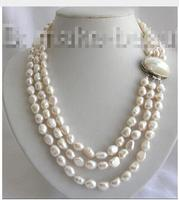 decorated REAL 3rows 10mm baroque white freshwater cultured pearl necklace women's jewelry silver