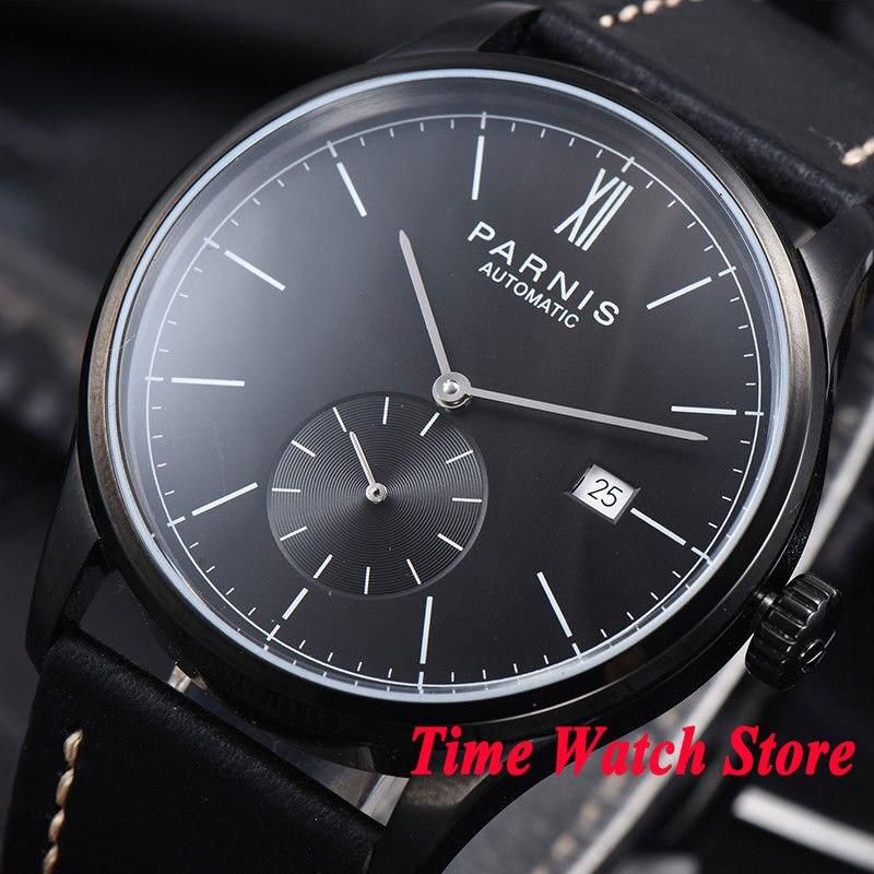 Parnis men's watch concise style 42mm PVD case black dial DATE 5ATM ST1731 Automatic wrist watch men 979 цена и фото
