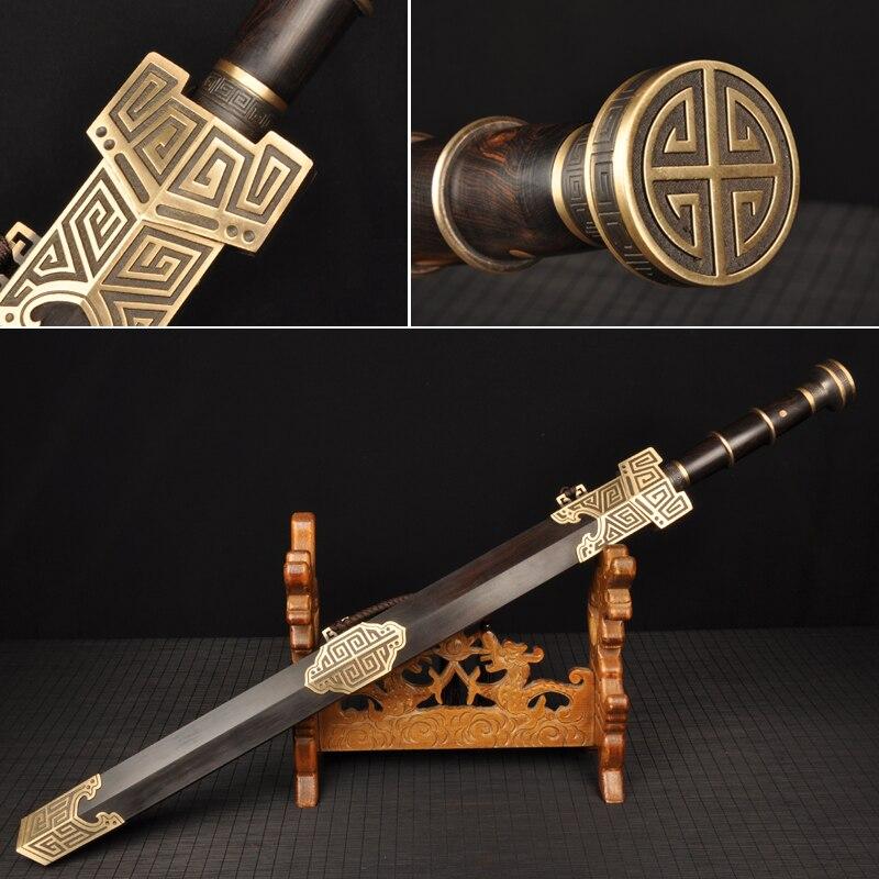 H-qualité Chinois Dynastie Han Épée Entièrement fait main Damas plié en acier Pleine saveur lame Collecation Épée Chinois Couteau
