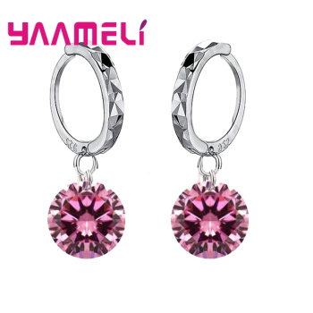 Big Discount Genuine 925 Sterling Silver 8 Colors Shiny Cubic Zirconia Dangle Earrings Crystal Jewelry For WOmen Ladies 1