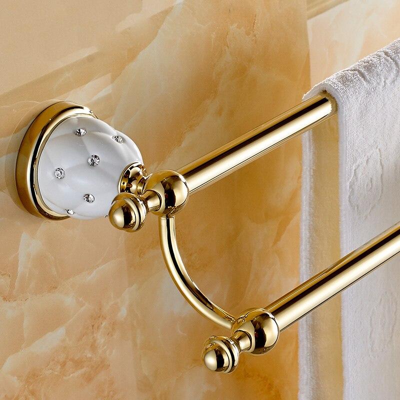 ФОТО High Quality European Style Solid Brass Gold Diamond Towel Rail Bathroom Towel Holder Double Towel Bar Bathroom Accessories