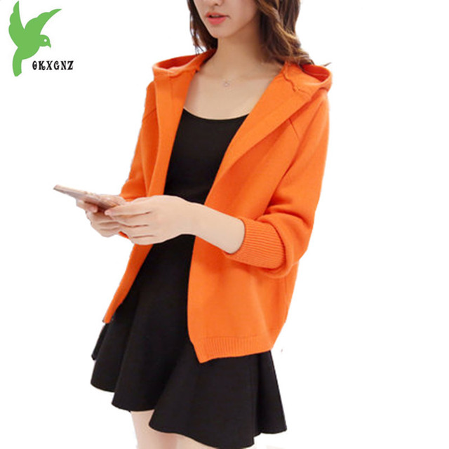 New Women Spring Autumn Knit Sweater Cardigan Short Jacket Fashion Solid color Hooded Jacket Thick Loose Casual Coats OKXGNZ1110