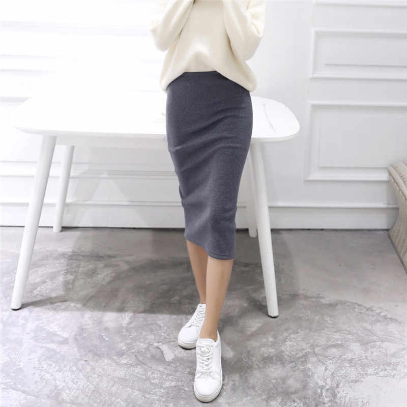 New Summer Skirts For Sexy Chic Pencil Skirts Wool Rib Knit Long Skirt Package Hip Split Waist Midi Skirt Maxi#295454