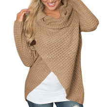 Women sweater knitted Long Sleeve o neck Solid girl Sweater MT