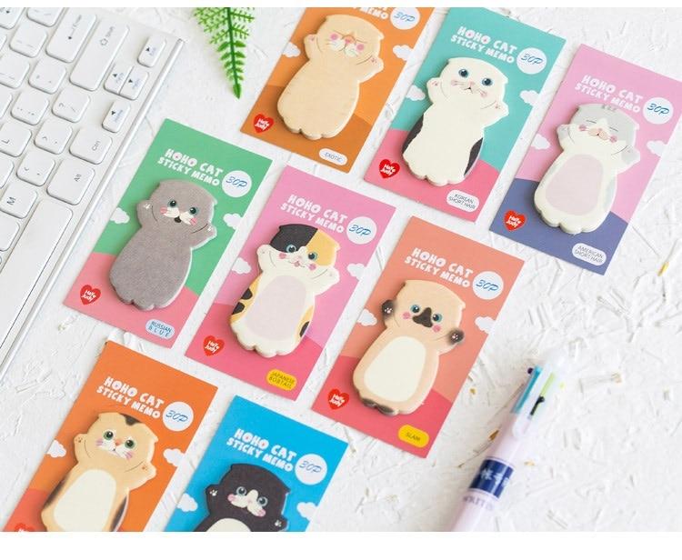 Cute Kawaii Cat Sticky Memo Pads (8 pieces)