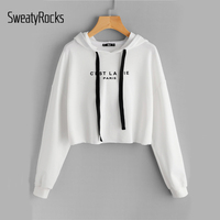 DIDK White Drop Shoulder Raw Hem Crop Hoodie Women S Letter Print Long Sleeve Casual Pullovers