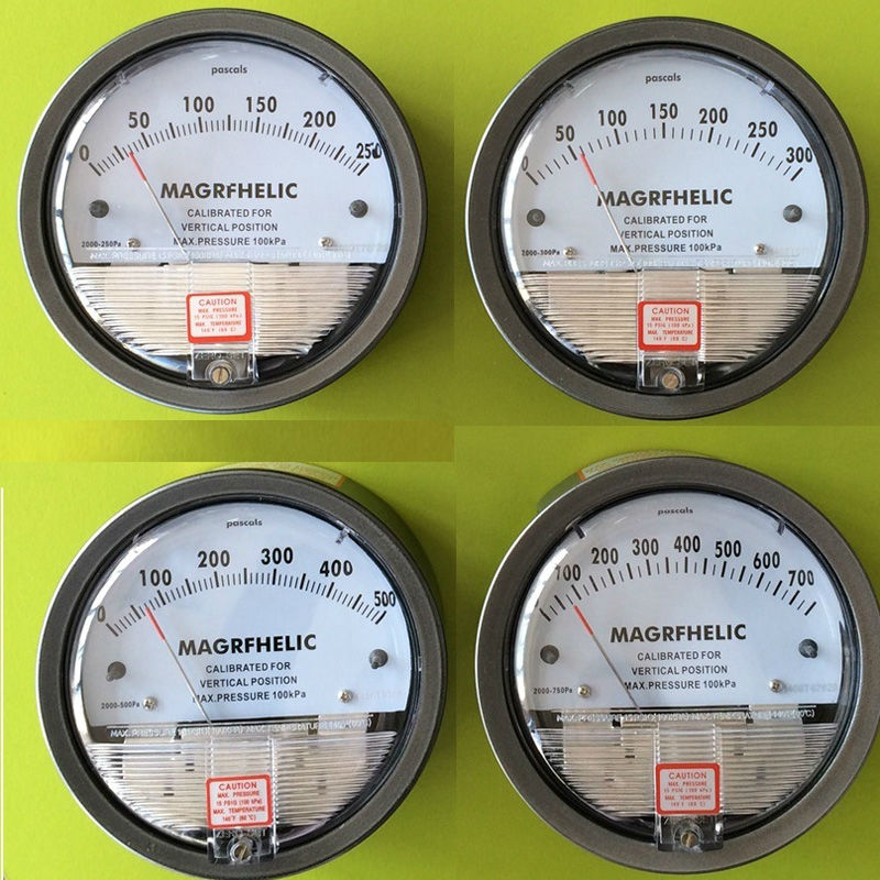 High pressure 5000pa professional clean room differential pressure gauge Manometer for gas r134a single refrigeration pressure gauge code 1503 including high and low