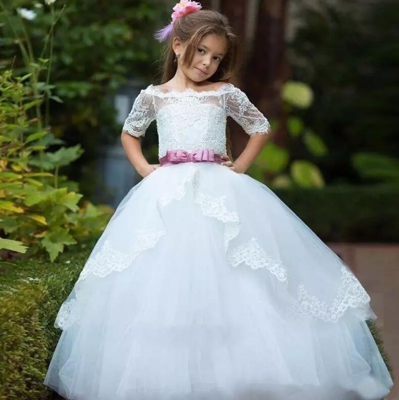 New Off Shoulder White Lace Flower Girls Dresses for Wedding Half Sleeve Girls First Communion Dress Ball Gown trendy see through off the shoulder long sleeve lace blouse for women