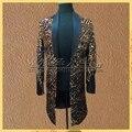 Длинный блейзер костюм куртки и пиджаки печать мужской одежды для певец танцор производительность жениха платье показать ну вечеринку ночной клуб бар DJ DS