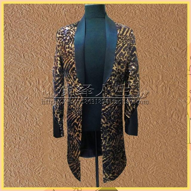 Largo chaqueta del traje chaqueta outwear imprimir ropa para hombre para bailarín del cantante novio del funcionamiento demostración del vestido discoteca fiesta bar DJ DS