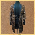 long blazer costume jacket outwear print male clothes for singer dancer performance groom dress show party nightclub bar DJ DS