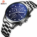 BIDEN Luxury Brand Analog Display Date Men's Quartz Watch Casual Steel Watch Men Watches relogio masculino