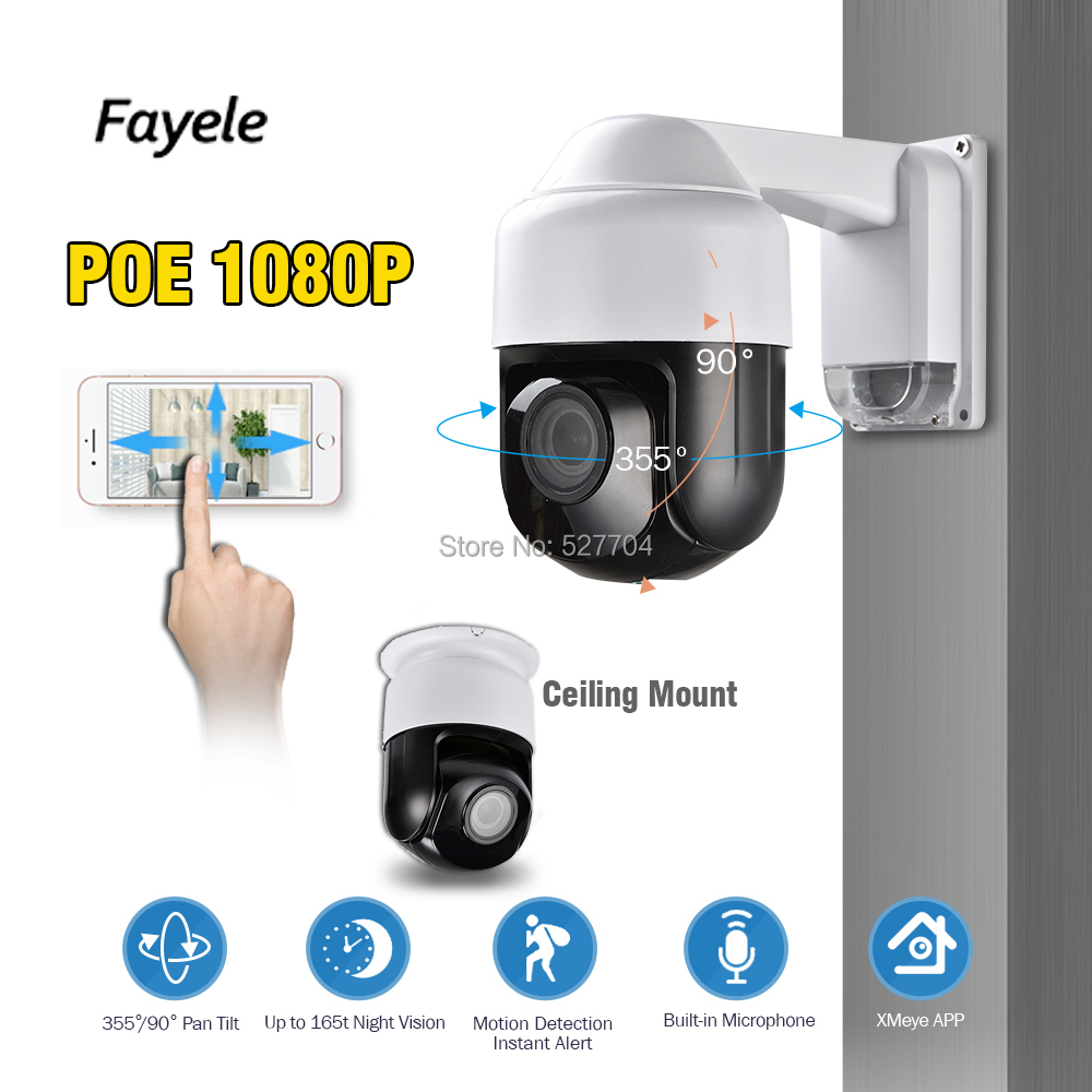 Security 3 NINI Speed Dome POE 1080P PTZ Camera IP 2MP Pan Tilt 4X Zoom Audio