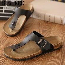 Klapki męskie skórzane buty Unisex korkowe kapcie plażowe męskie Klapki Na Lato kapcie Na zewnątrz mężczyźni slajdy klapy Damskie Na Lato