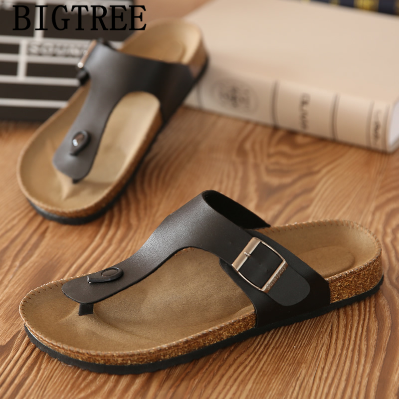 Flip Flops Men Leather Unisex Shoes Cork Beach Slippers Men Summer Slippers Outdoor Slippers Men Slides Klapki Damskie Na Lato