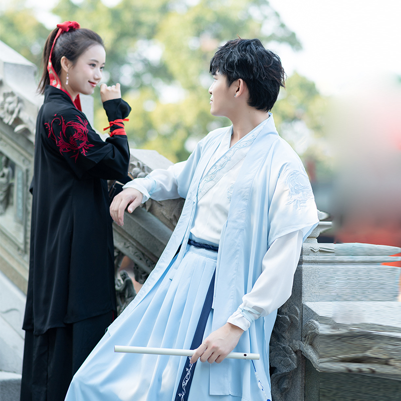 2019 couples costume hanfu traditional chinese vintage white set halloween costume for men&women