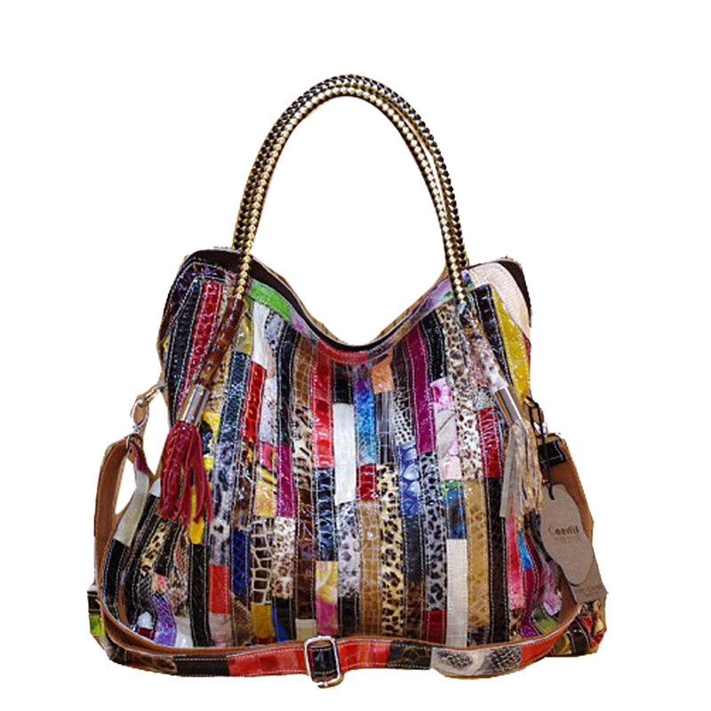 Leather skin snake pattern stripe single shoulder bag colorful tassel snake bag Women Leather Handbags Genuine Leather bags stripe pattern off shoulder long sleeves waist tie playsuit with tassel detail page 6
