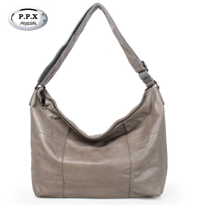P.P.X European and American Style Women Bag Fashion Cow Leather Big Handbag Hot Sale High-capacity Hobos Casual Tote Bag M817 aetoo the new oil wax cow leather bags real leather bag fashion in europe and america big capacity of the bag