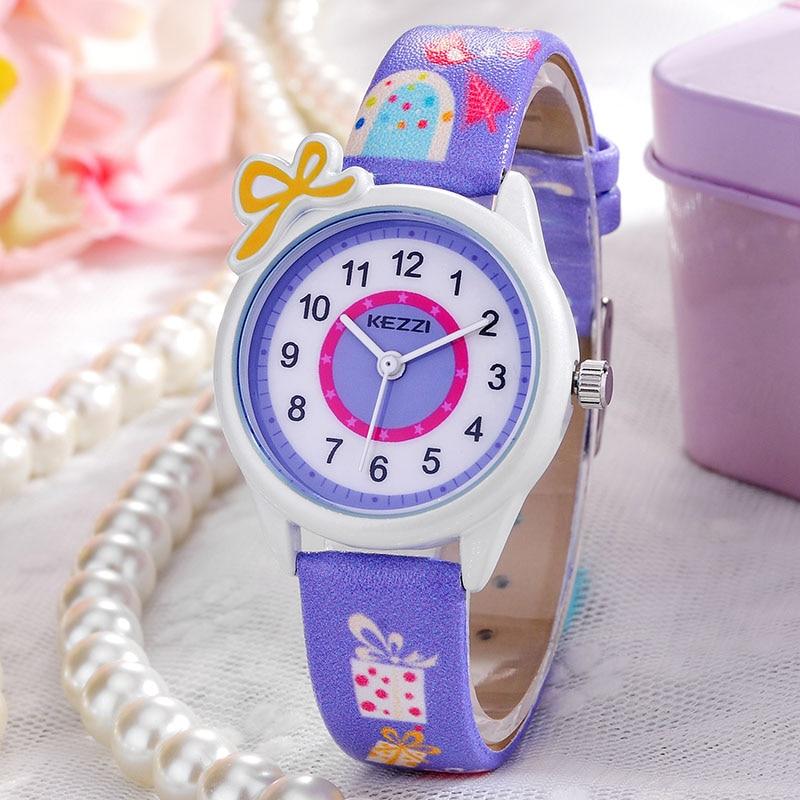Enfants Montres Enfants De Mode Montres À Quartz de Bande Dessinée Bracelet En Cuir Montre-Bracelet Garçons Filles Étanche Cadeau Horloges KEZZI Top Marque