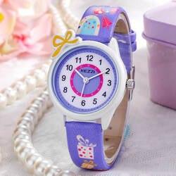 Детские часы Дети Мода часы кварцевые мультфильм Кожаный ремешок наручные часы для мальчиков и девочек Водонепроницаемый подарок часы KEZZI