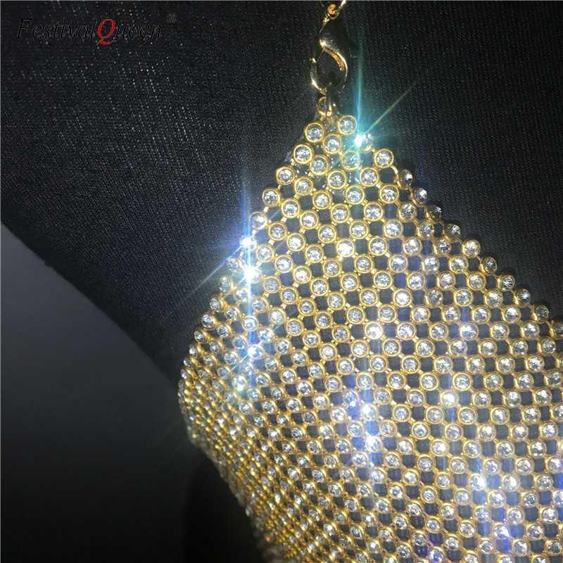 8f5b0d3623 ... FestivalQueen brilliant crystal rhinestone Bra women 2018 sexy Metal  chain halter backless night club diamond bras