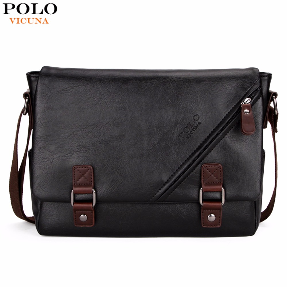 VICUNA POLO High Quality Black Leather Bag Mens Messenger Bag Double hasp Open Satchel Fashion Men's Shoulder Bag Large Capacity authentic polo golf double clothing shoes bags mens golf apparel travel bag bolsas zapatos double garment high capacity package