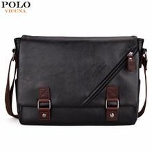 VICUNA POLO High Quality Black Leather Bag Mens Messenger Bag Double hasp Open Satchel Fashion Men's Shoulder Bag Large Capacity