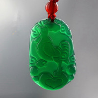 Chalcedony Zodiac Pendant With Pure Natural Jade Pendant Chicken