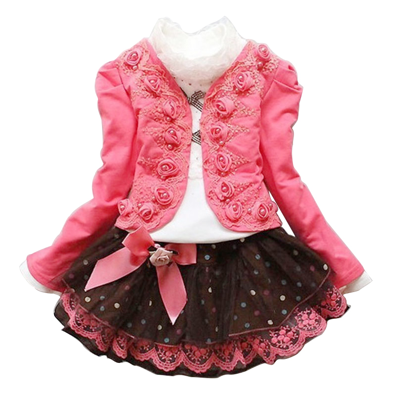 New Arrival 2015 Autumn Winter baby girls Flower Lace Dresses children Clothing Jacket coat + T shirt + dress Kids girls Clothes girls fur coat clothing with pearl lace flower autumn winter wear clothes baby children faux fur dress dresses style jacket 2017