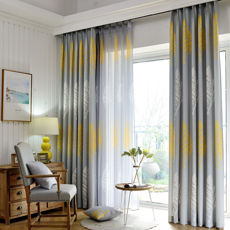 American Country Style Plantain Leaves Curtains For Living Room