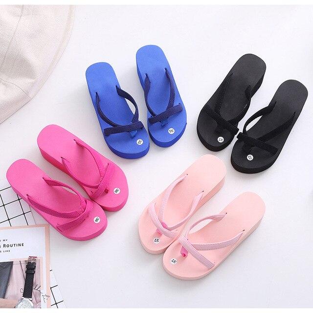 ASILETO Platform slippers Women High Heels Zapatillas Summer Shoes ladies Slippers Beach Flip Flops outdoor Slides home house