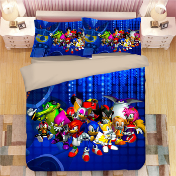 Sonic The Hedgehog Bedding Sets cartoon Duvet Covers Pillowcases 3d blue anime bedclothes twin double queen king Comforter cover
