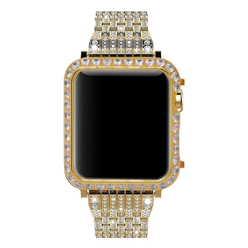 los angeles d6835 40eb2 US $39.99 |Callancity for Apple Watch series 3 series 2 series 1 diamond  case bezel crystals handwork inlaid black platinum plating-in Phone Bumper  ...