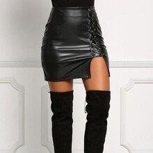 JSMY Women Stretch Lace-up High Waist PU Leather Skirt Fashion Slim Half-length Hip Sexy Nightclub Step Skirts