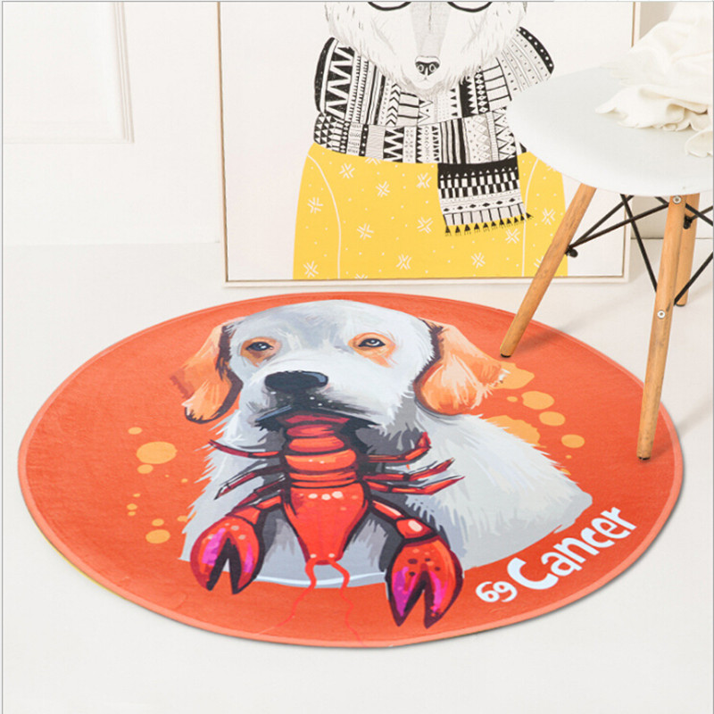 Cute Cartoon Round Rug Chair Mats Kids Room Living room Big Area Rugs Bedroom Decor Carpet For Bathroom Bath Mat Home Carpets
