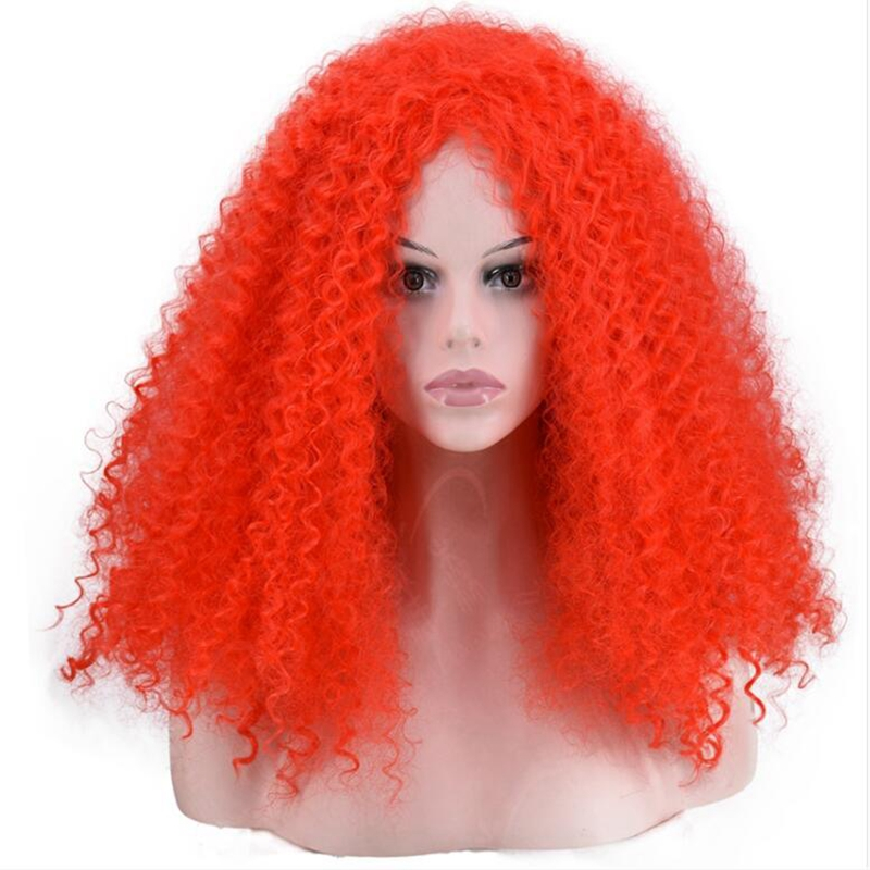 JOY&BEAUTY Red White Green YeLLow Glod Temperature Synthetic Fiber Women Wig Afro Kinky Curly Cosplay Hair Wig 20inch