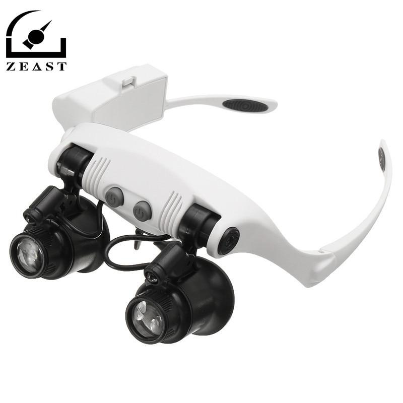 10X 15X 20X 25X LED lupa doble ojo gafas lupa lente joyero reloj reparación medición con 8 lente llevó la lámpara