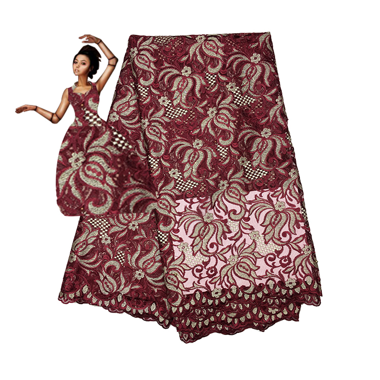 2018 High quality Latest French Nigerian Laces Fabric,Wine red Tulle Lace Fabric, Embroidery African Lace Fabric  FC17-TEC2018 High quality Latest French Nigerian Laces Fabric,Wine red Tulle Lace Fabric, Embroidery African Lace Fabric  FC17-TEC