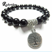 Ruberthen Tree Of Life Mala Bracelet Yoga Jewelry Meditation Wrist Mala Black Stone Yoga Bracelet Unique Birthday Gift