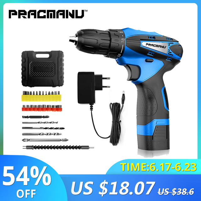 PRACMANU 12V cordless screwdriver Drill Electric Drill  mini cordless electric screwdriver power tool cordless drill