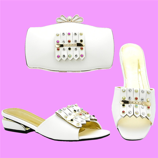 New Fashion Italian Shoes with Matching Bags for Women Shoes and Bag Set African Sets 2018 Slip on Shoes for Women Summer Shoe