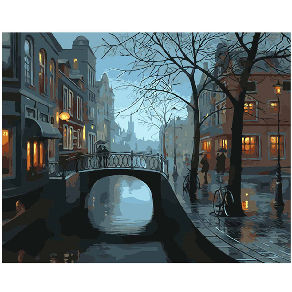WEEN Fog Rain Small Town-DIY Painting By Numbers, Acrylic Paint, Canvas For Wall Decoration Picture, Paint Numbers