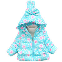 MUQGEW Fashion Baby Girl Clothes Winter Cotton Bow Hooded Clothing Coat Thick Warm Zipper Outwear Clothes